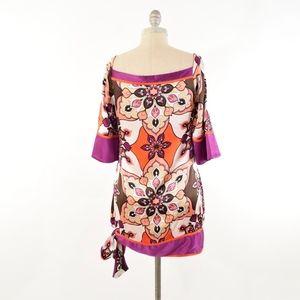 bebe Dresses - BEBE Retro-Print Silk Charmeuse Mini Shift Dress